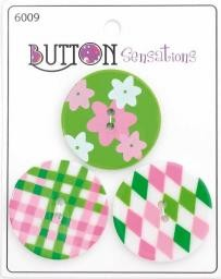 Button Sensations - Grün-Bunt - 33 mm