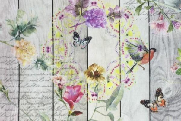 Baumwolle Dekostoff - Landhaus Schmetterlinge
