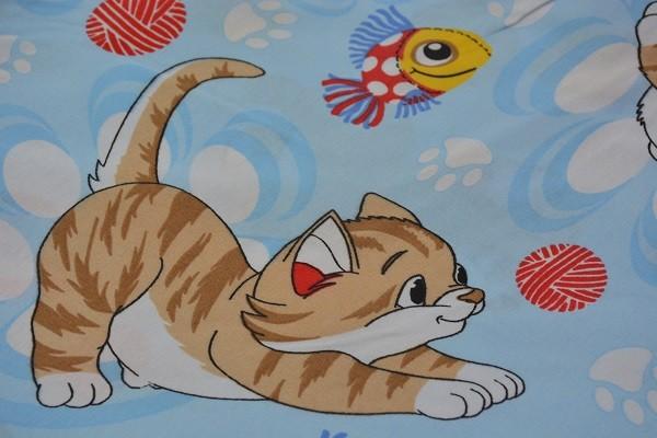 Baumwolle Dekostoff - Comic Kätzchen - Blau - 240 cm breit - 9,95 € / 1 Meter