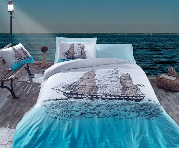 bettw sche baumwolle renforc 135x200 155x220 200x200 80x80cm maritime schiff ebay. Black Bedroom Furniture Sets. Home Design Ideas