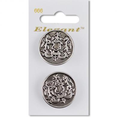 Knopf Elegant - Wappen - Silber - Durchmesser 2,8 cm