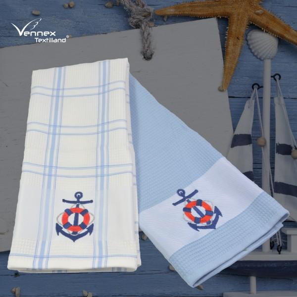 2er Set Waffel-Pique Küchentücher - Maritim Anker - 40 x 70 cm - Hellblau/Weiß_01
