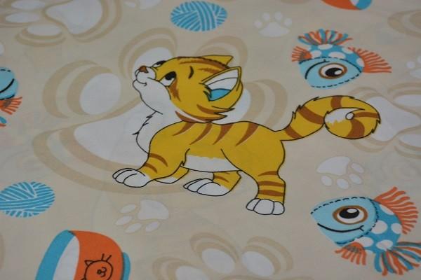 Baumwolle Dekostoff - Comic Kätzchen - Sand - 240 cm breit - 9,95 € / 1 Meter