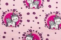 Jersey Baumwolle Stoff - Einhorn - Rosa/ Pink