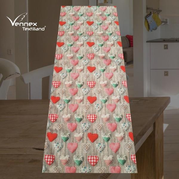 Tischläufer - Landhaus Herzen Rot - Vennex Handmade_01
