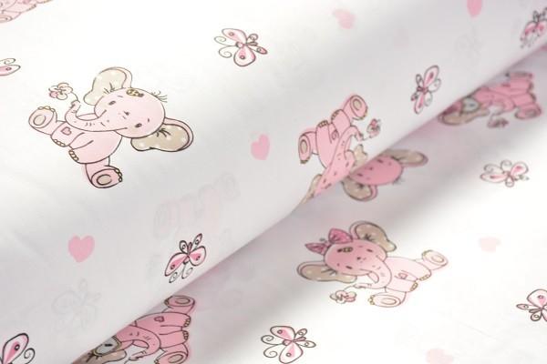 Baumwolle Dekostoff - Elefantenbaby - Rosa - 240 cm breit - 9,95 € / 1 Meter