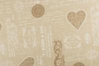 Poly-Baumwolle Dekostoff - Vintage Herzen - Beige/ Weiß