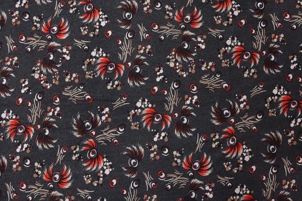 Wolle - Bekleidungsstoff - Blumen - rot - 88cm breit - 9,95 € / 1 Meter
