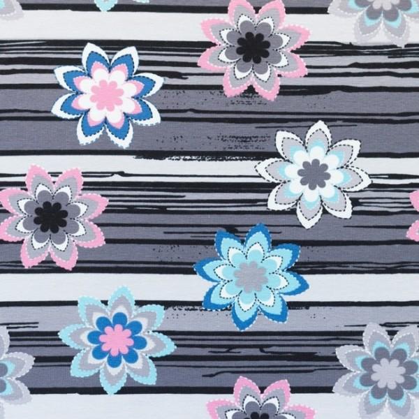 Jersey Baumwolle Stoff - Blumen und Streifen - Grau