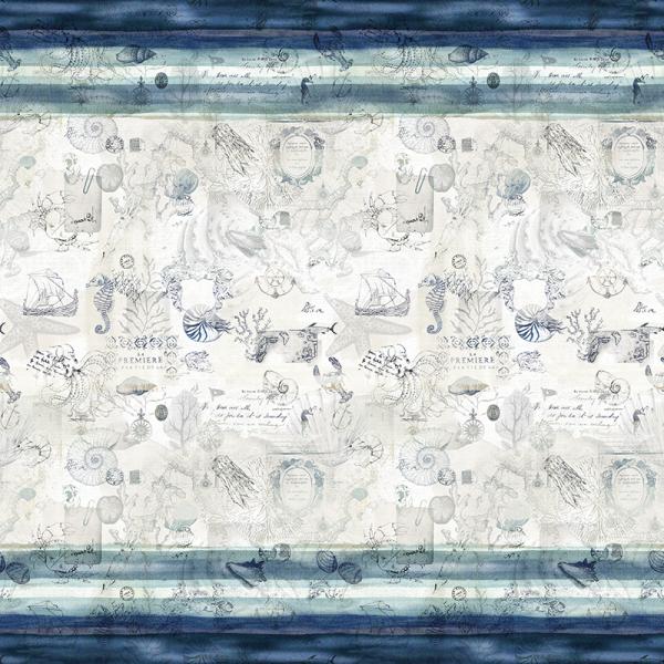 Baumwolle Dekostoff - Maritim Strömung - Weiß/ Blau_01