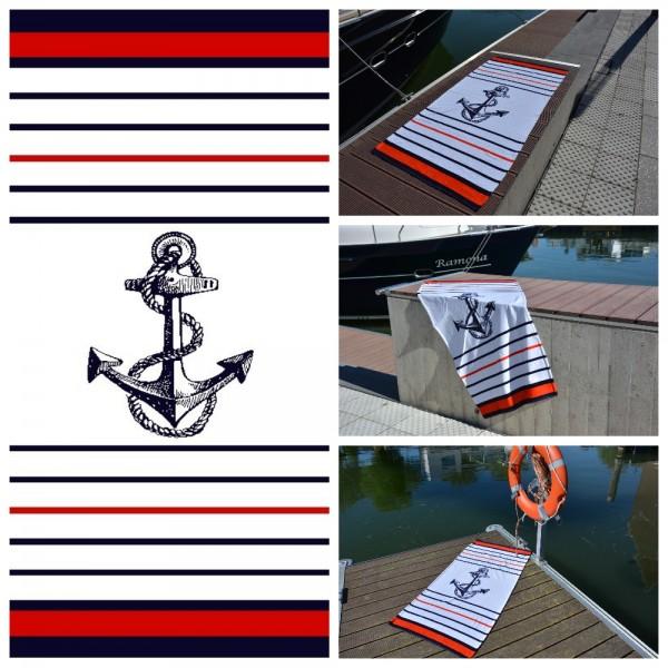 Strandtuch / Badetuch - Maritim Navy Anker - 75 x 150 cm - Weiß/ Navy/ Rot