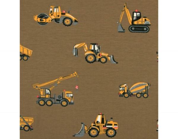Jersey Baumwolle Stoff - Baustellenfahrzeuge - Braun