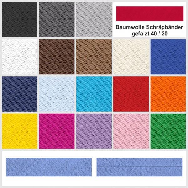 Baumwolle Schrägbänder - gefalzt 40 / 20 - verschiedene Farben