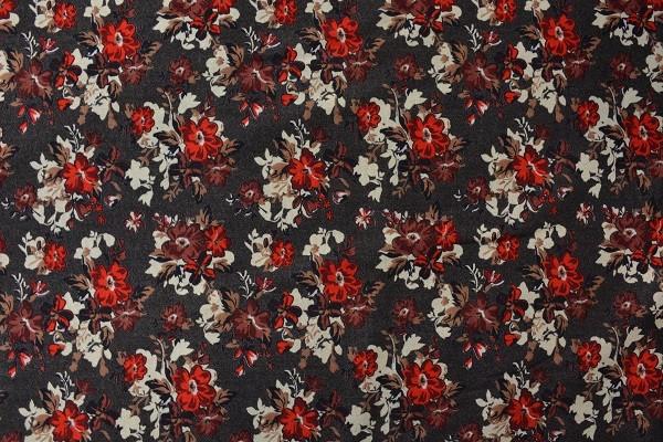 Wolle - Bekleidungsstoff - Blumenwiese - Rot - 88 cm breit - 9,95 € / 1 Meter