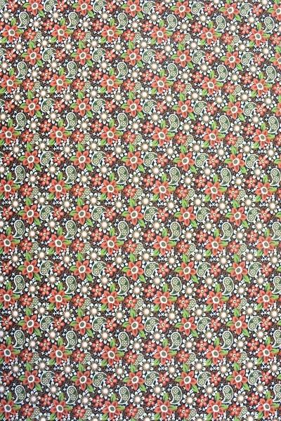 Popeline Baumwolle -Ornament und Blume - Braun-Grün-Olive - 6,00 € / 1 Meter