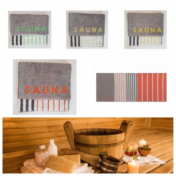 """Saunatuch 80 x 200 cm - Gestreift mit Schriftzug """"Sauna"""""""