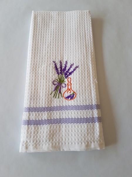 Waffel-Pique Geschirrhandtuch 50 x 70 cm - Farbe weiß / lila Streifen