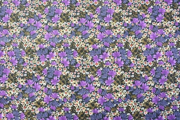 Popeline Baumwolle - Blüten und Blätter - Lila - 4,95 € / 1 Meter
