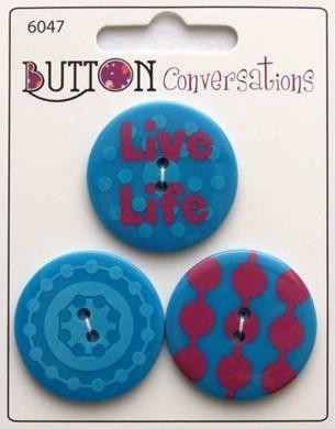 Button Conversations - Türkis-Rot - 33 mm