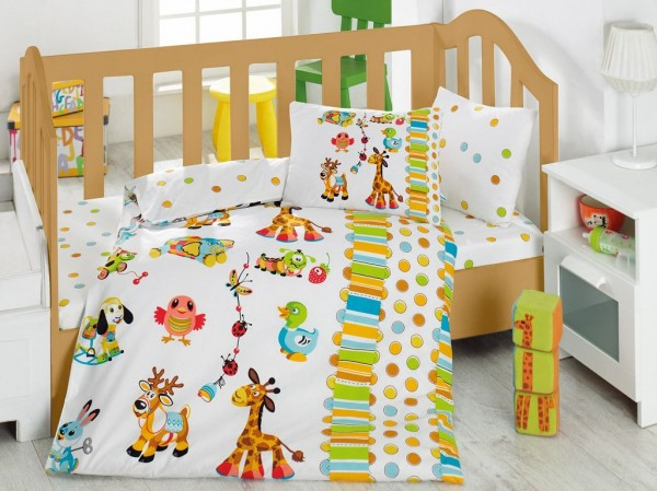 renforc baumwolle baby bettw sche bettgarnitur 100x135 40x60 cm zoo ebay. Black Bedroom Furniture Sets. Home Design Ideas