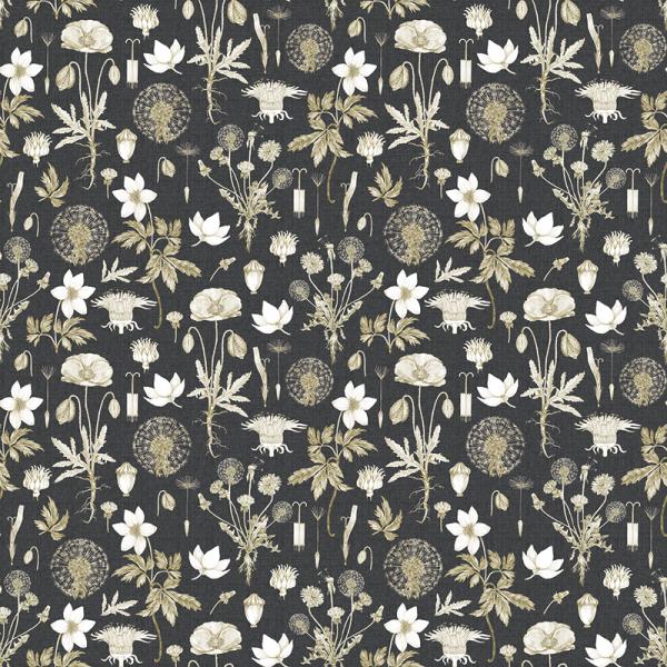 Baumwolle Dekostoff - Pusteblumen Flower - Anthrazit_01