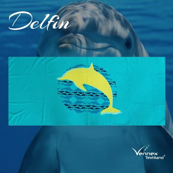 """Strandtuch/ Badetuch """"Delfin"""" - 75 x 160 cm - Türkis/ Gelb"""