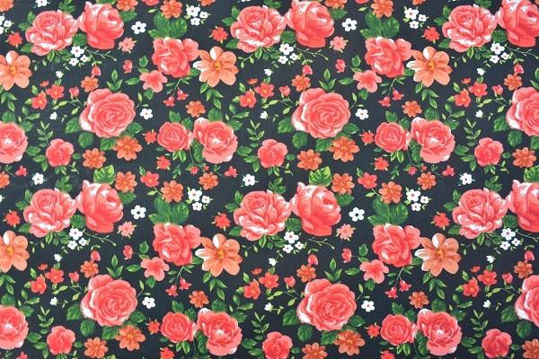 Popeline Baumwolle Bekleidungsstoff - Rosen - Rot - Information zur Bestellmenge beachten